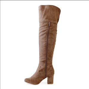 Wild Diva Tan Taupe Suede Over the Knee Boots 7
